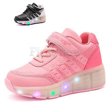 Wheelys Roller Skate Shoes Kids Girls Boys Retractable Sport Shoes LED Light Up