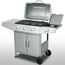 Professional BBQ Gas Grill Silver Large Cooking Outdoor Garden Barbecue Party UK