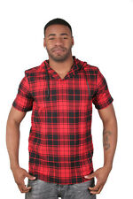Dope Couture Heavy Metal Hooded Black Red Plaid Short Sleeve Shirt