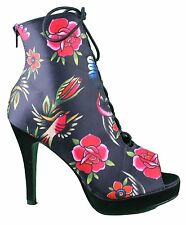 Iron Fist Society Suicide Black Bootie Open Toe Shoes Heels