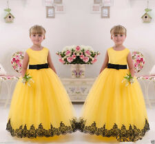 Flower Girl Dresses Wedding Birthday Party Pageant Bridesmaid Prom Ball yellow