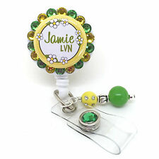 DAISIES PERSONALIZED BLING RETRACTABLE ID BADGE HOLDER LANYARD