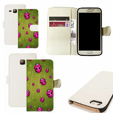 pu leather wallet case for majority Mobile phones - pink ladybird white