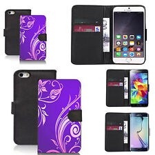 pu leather wallet case for many Mobile phones - purple tweed
