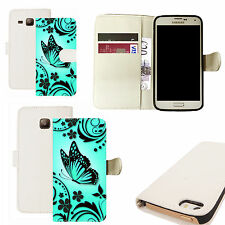 pu leather wallet case for majority Mobile phones - aqua caress white