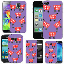 gel case cover for many mobiles - violet red shopping baskets silicone