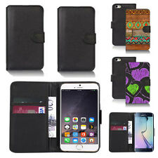 black pu leather wallet case cover for many mobiles design ref q461