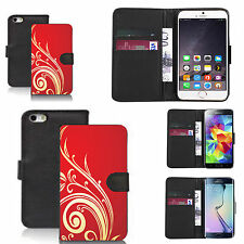 pu leather wallet case for many Mobile phones - red swirling tweed