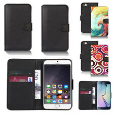 black pu leather wallet case cover for many mobiles design ref q293
