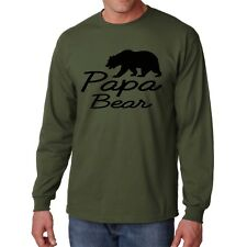 Shirt Papa Bear S Long Sleeve L Men Tee Funny Day New Papa Dad Father Cute Gift