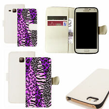 pu leather wallet case for majority Mobile phones - purple zoo print white