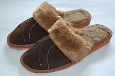 Ladies Womens Brown Suede With Wool Slippers Sandals Shoes Made In Poland Warm