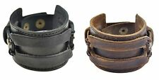 Men Womens Genuine Leather Wide Cuff Bracelet Bangle Wristband