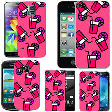 motif case cover for many Mobile phones - blush pink falling drink