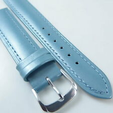 HQ 16MM 18MM PEARLY BLUE ITALY LAMBSKIN LEATHER WATCH BAND PEARL SMOOTH STRAP
