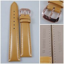 HQ 18MM YELLOW OR COLORS PEARLY ITALY LAMBSKIN LEATHER WATCH BAND SMOOTH STRAP
