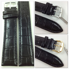 HQ BLACK GLOSS ITALY CROC GRAIN LEATHER WATCH BAND GLOSSY 10~30 MM STRAP w/CLASP