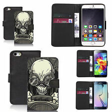 pu leather wallet case for many Mobile phones - driving skull