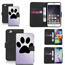 pu leather wallet case for many Mobile phones - large paw print