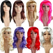 Halloween Fancy Dress Costume Party Wig Synthetic Hair Long Curly Straight Cut