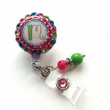 COLORFUL SPRINKLES INITIAL BLING RETRACTABLE ID BADGE HOLDER LANYARD