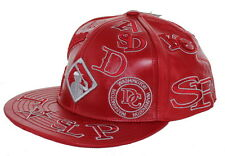 NEW! Negro League Baseball Fitted Leather Hat Embroidered Logo Cap - Red