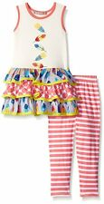 JELLY THE PUG Girl 3T Floating Feathers Tiered Dress Legging Set Boutique Outfit