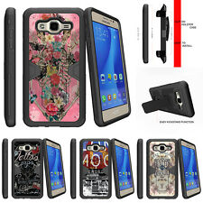 For Samsung Galaxy On5 Holster Clip Kickstand Shock Impact Case Rose Skeleton