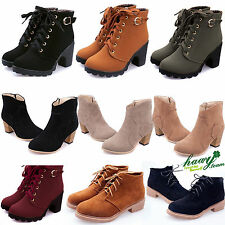 Womens Ankle Boots Rider Martin Autumn Winter Casual Low Heel LACE UP Punk Shoes