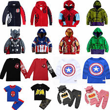 Kids Infant Boys Superhero Hooded Sweatshirt Jumper T-Shirt Tops / 2Pcs Outfits