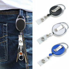 Retractable Reel Recoil ID Badge Lanyard Name Tag Key Card Holder Belt Clip new