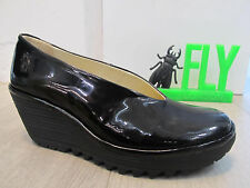 Fly London Yaz Black Patent Leather Wedge Court Shoe
