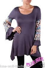 "Plus Size ""Dark Grey MultiColor Bell Sleeves"" Tribal Design Top-PT5-HS-T1071-1"