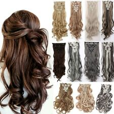 Real Natural as human Hair 8Pcs Full Head Clip In Hair Extensions Ombre Tape H85