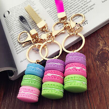 Cute Girls Macaron Keyring Cake Keychain Metal Key ring Chain Keyfob Gift