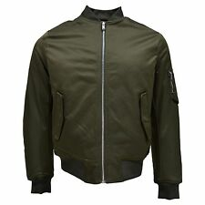 Ben Sherman Men's Polyester Solid Forest Green Classic Harrington Bomber Jacket
