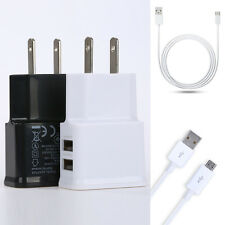 Fast USB Port 5V 2A/1A Wall US/EU Plug AC Charger Adapter Data Cable For Phone