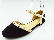 NEW Black Womens Rivet Rochstud Ankle Strap Studded Pointy Toe Flat shoes SARA-3