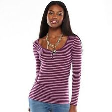 JUICY COUTURE Womens Burnout Stripe Rhinestone Henley Long Sleeve Top Purple M L