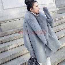 Womens lady Wool Fur Collar Loose Fit Cape Winter Trench Coat Outwear Jacket new