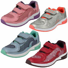 PIPER CHAT- INFANTS GIRLS CLARKS GLITTER LIGHTS RIPTAPE SPORTS TRAINERS SHOES