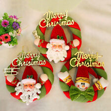 1x Friendly Santa Welcome Christmas Door Wall Wreath Hanging Xmas Decoration
