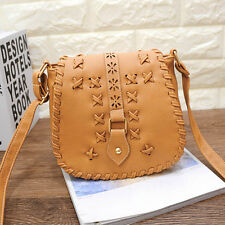 Women Vintage Handbag Hollow Out Leather Messenger Saddle Shoulder Bag Hobo Tote