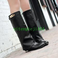 Womens Over the Knee Buckle Low Heels Riding Boots Fold Knee High Party Shoes YT