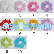 100x Colors Matt Flower Petal Acrylic Beads Frosted Plastic Leaf Beads Top Hole