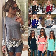 Womens Autumn Boho Lace Crochet Long Sleeve T-shirt Tops Casual Tee Shirt Blouse