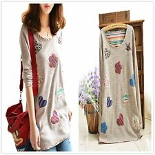New Fashion Women Cotton Tops T-Shirt Loose Casual Long Sleeve T-Shirt Blouse