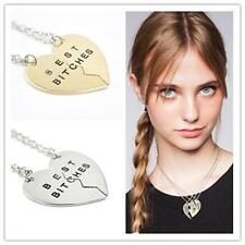 2 BEST BITCHES Friends Heart BFF Pendant Friendship Necklace Gifts-Gold/Silver