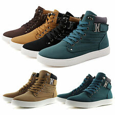 MENS FLAT LACE UP CASUAL HI HIGH TOP ANKLE BOOTS TRAINERS SNEAKERS PUMPS SHOES