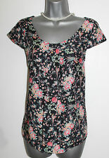 MONSOON Navy Floral Print Cap Sleeve Pleated Front Blouse Casual Shirt Top UK 8
